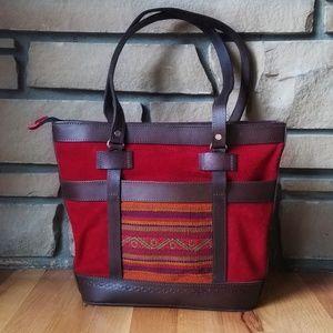 🌹Bolivian Made Suede Kilim Boho Tote Bag NWOT